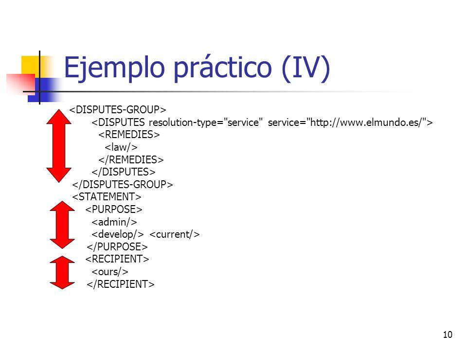 Ejemplo práctico (IV) <DISPUTES-GROUP>