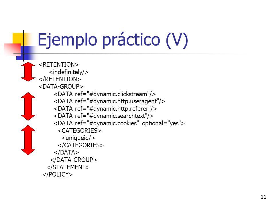 Ejemplo práctico (V) <RETENTION> <indefinitely/>
