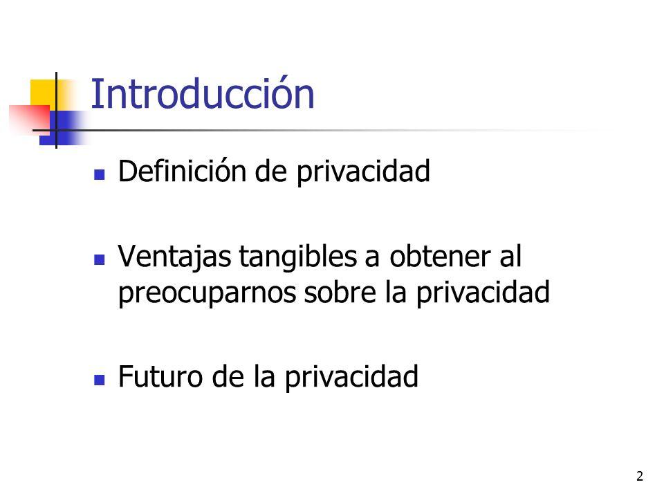 Introducción Definición de privacidad