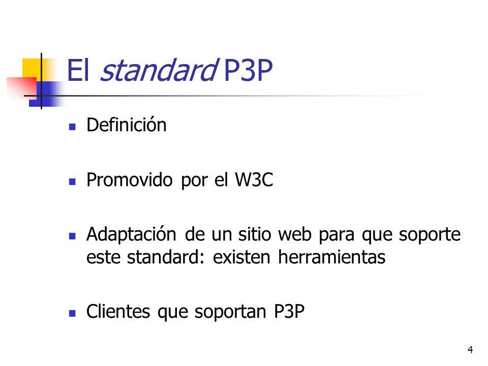 El standard P3P Definición Promovido por el W3C