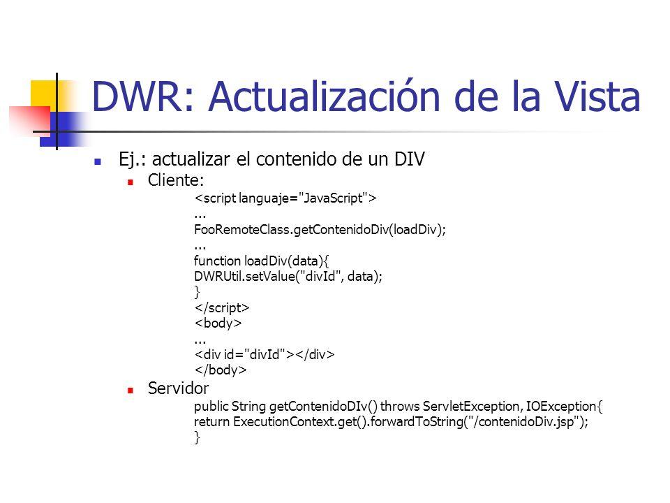 DWR: Actualización de la Vista