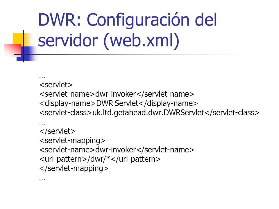 DWR: Configuración del servidor (web.xml)