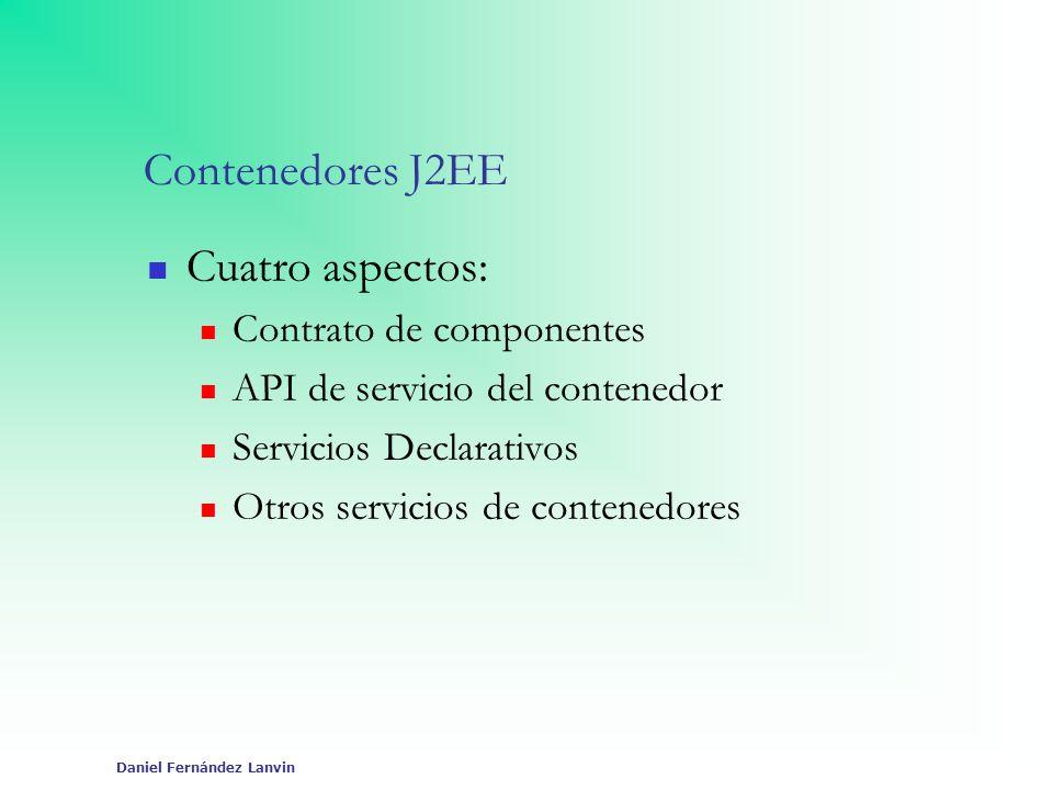 Contenedores J2EE Cuatro aspectos: Contrato de componentes