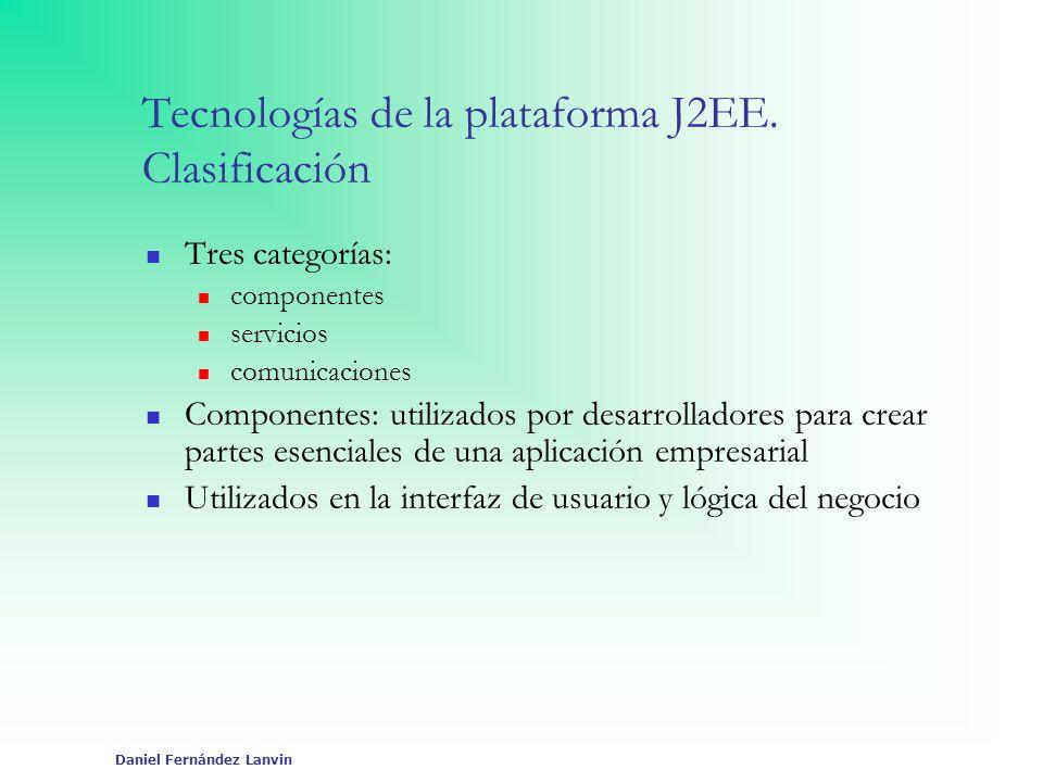 Tecnologías de la plataforma J2EE. Clasificación