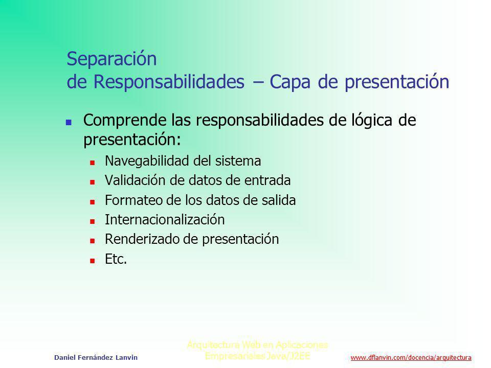 Separación de Responsabilidades – Capa de presentación