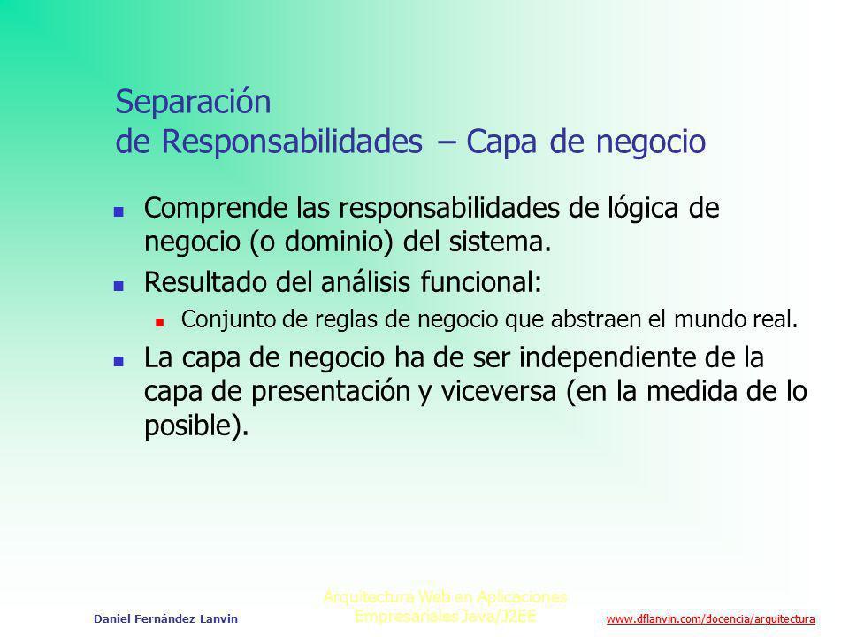 Separación de Responsabilidades – Capa de negocio