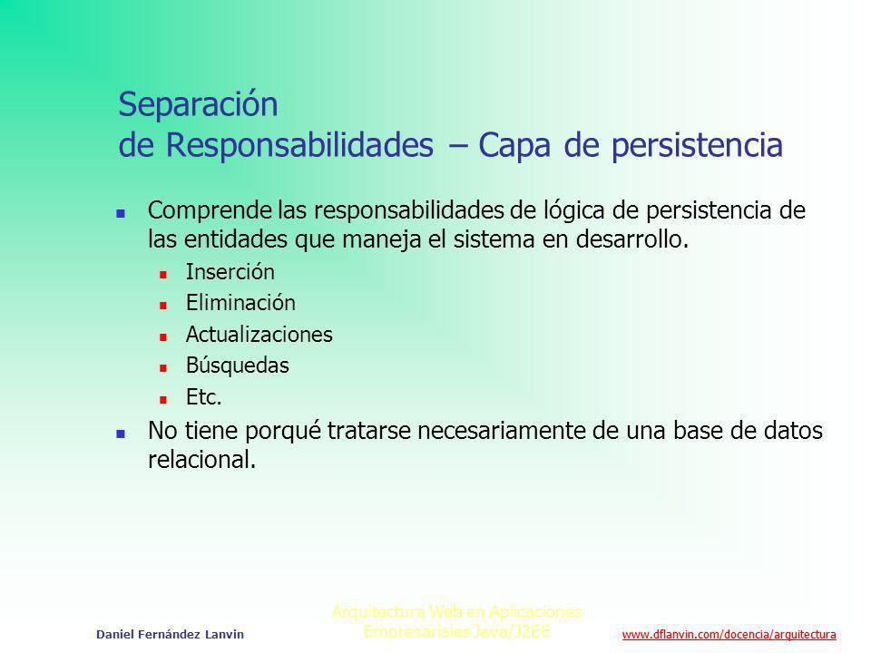 Separación de Responsabilidades – Capa de persistencia