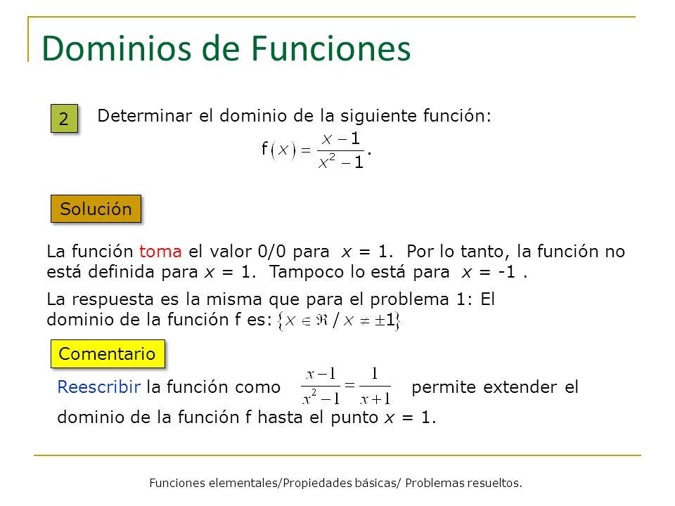 Funciones elementales/Propiedades básicas/ Problemas resueltos.