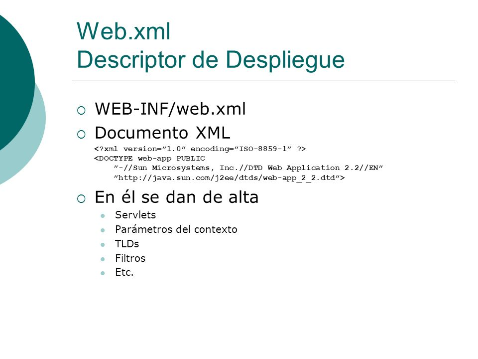 Web.xml Descriptor de Despliegue