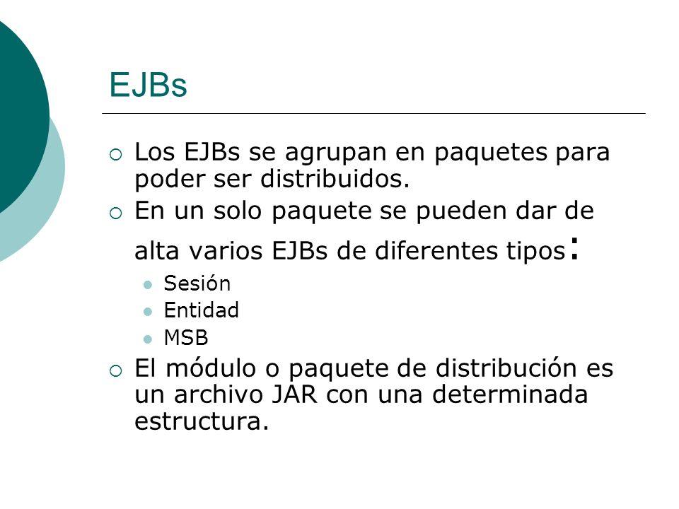EJBs Los EJBs se agrupan en paquetes para poder ser distribuidos.