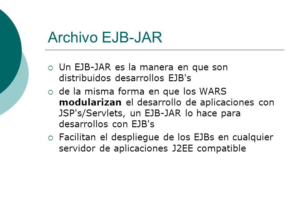 Archivo EJB-JAR Un EJB-JAR es la manera en que son distribuidos desarrollos EJB s.