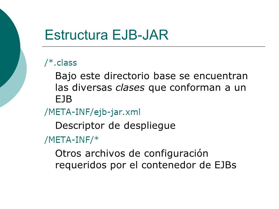 Estructura EJB-JAR Descriptor de despliegue