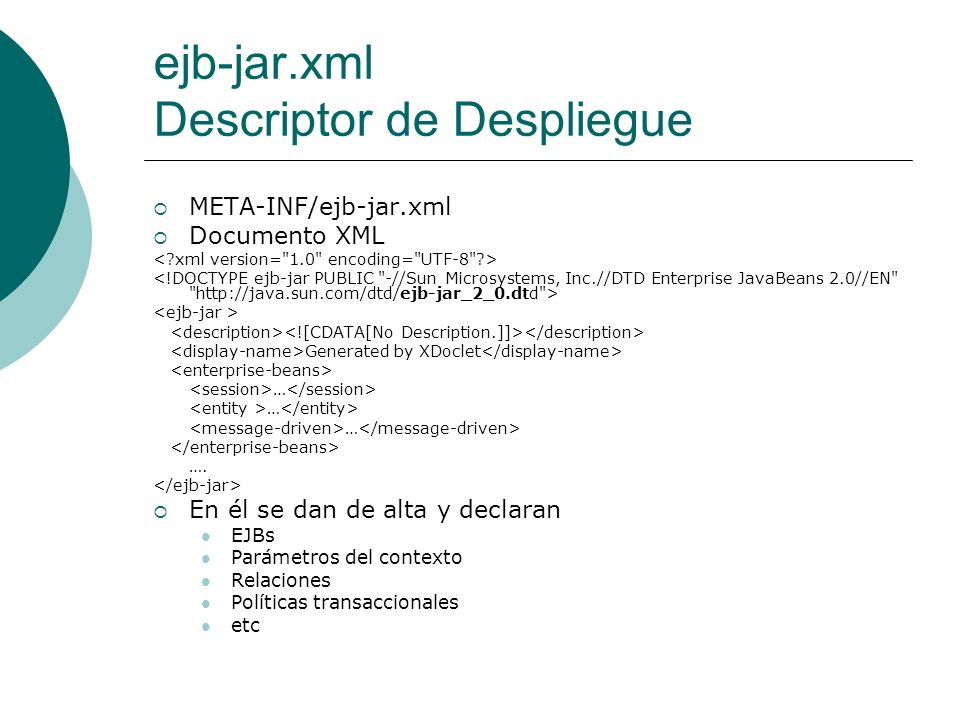 ejb-jar.xml Descriptor de Despliegue