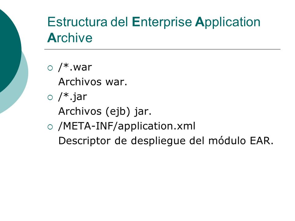 Estructura del Enterprise Application Archive