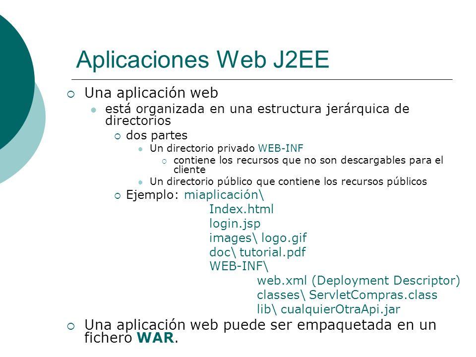 Aplicaciones Web J2EE Una aplicación web