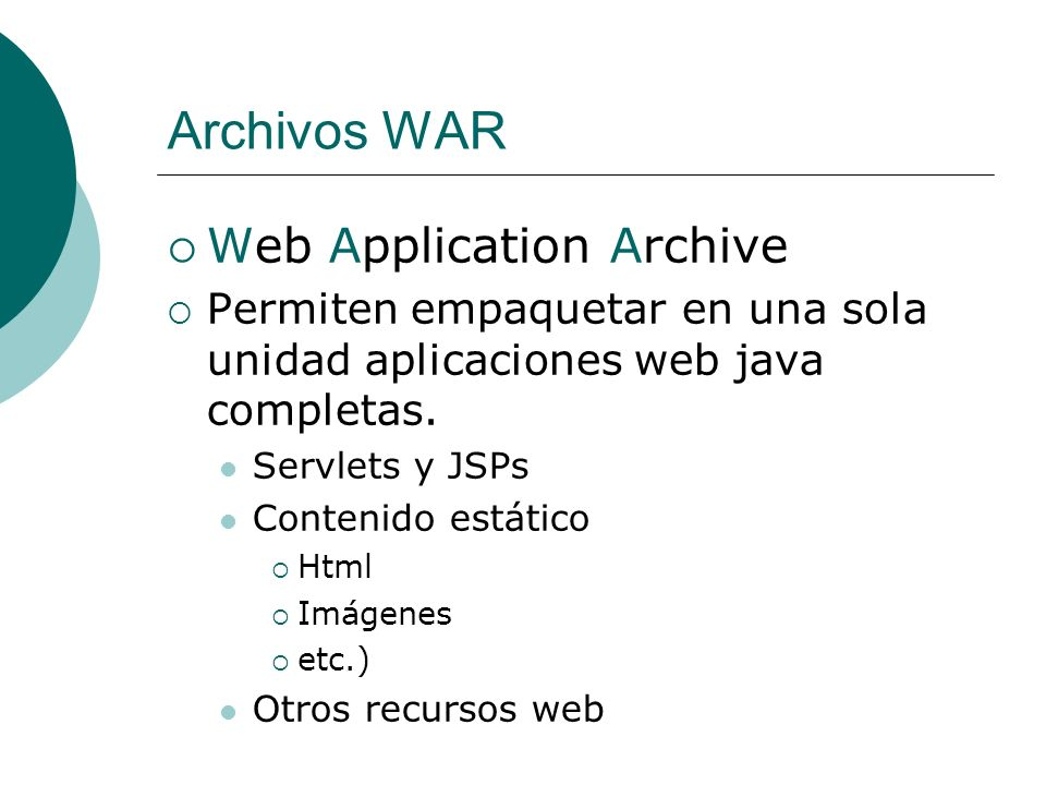 Archivos WAR Web Application Archive