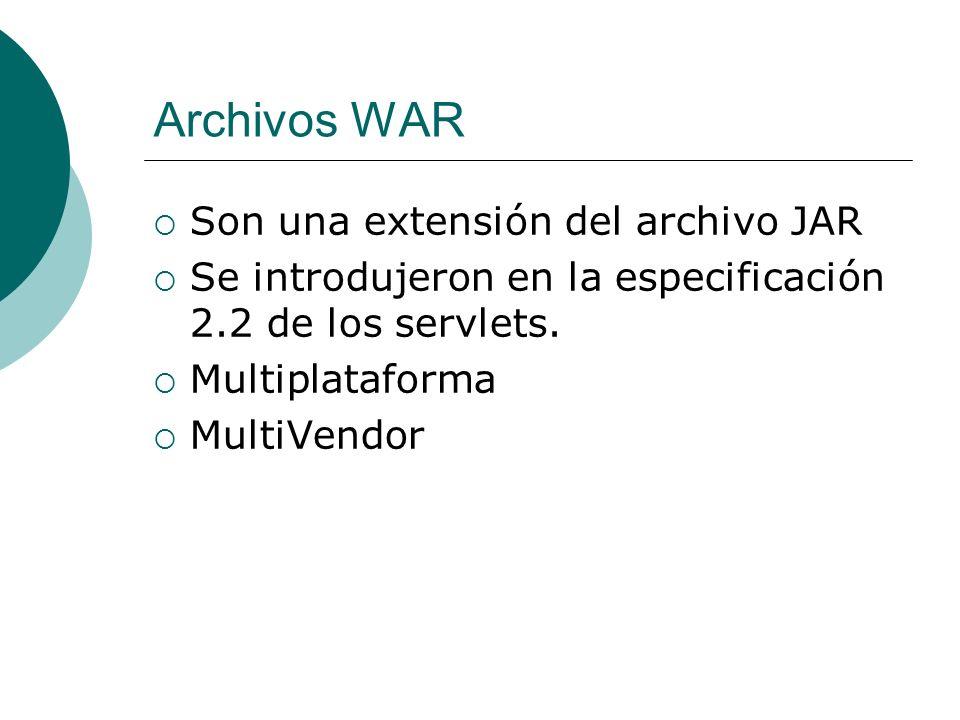 Archivos WAR Son una extensión del archivo JAR