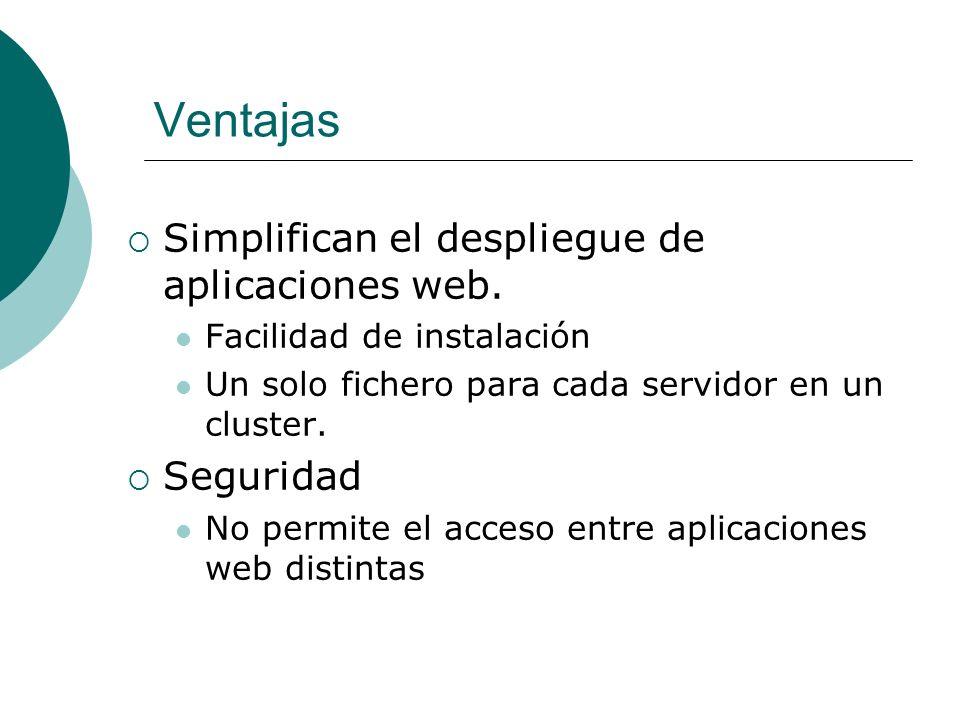 Ventajas Simplifican el despliegue de aplicaciones web. Seguridad