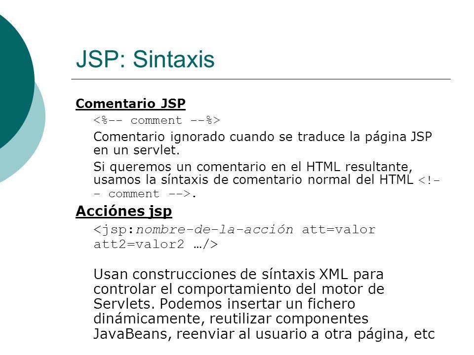 JSP: Sintaxis Acciónes jsp