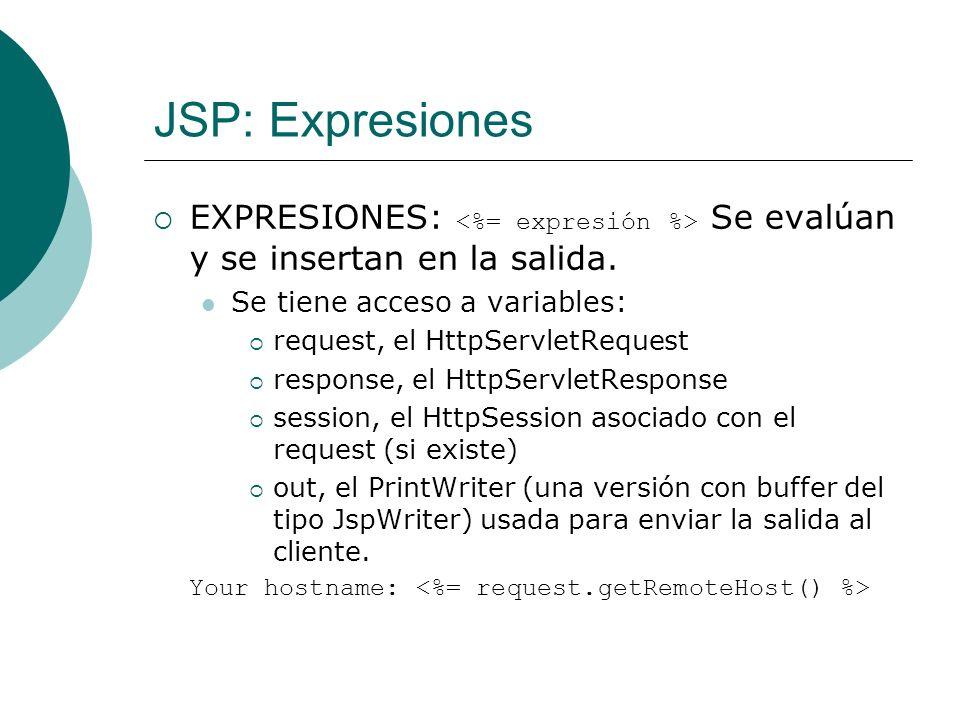 JSP: Expresiones EXPRESIONES: <%= expresión %> Se evalúan y se insertan en la salida. Se tiene acceso a variables: