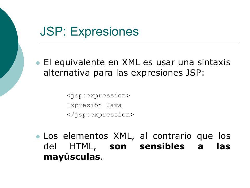 JSP: Expresiones El equivalente en XML es usar una sintaxis alternativa para las expresiones JSP: <jsp:expression>