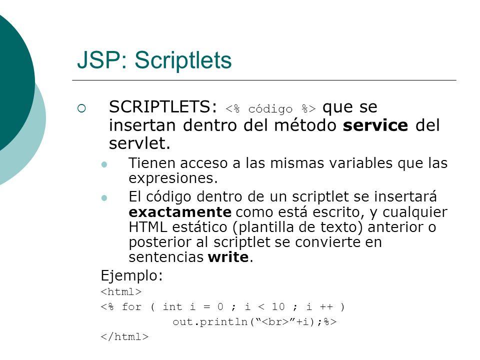 JSP: Scriptlets SCRIPTLETS: <% código %> que se insertan dentro del método service del servlet.