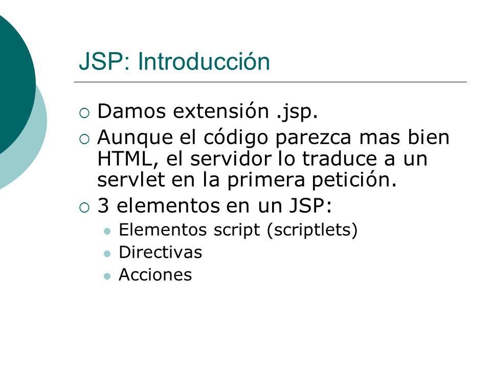 JSP: Introducción Damos extensión .jsp.