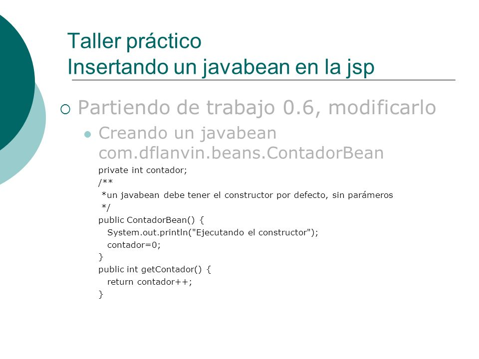 Taller práctico Insertando un javabean en la jsp