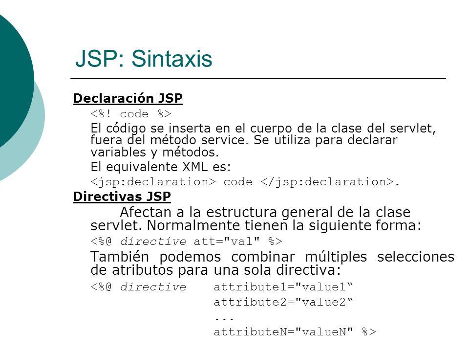 JSP: Sintaxis Declaración JSP. <%! code %>