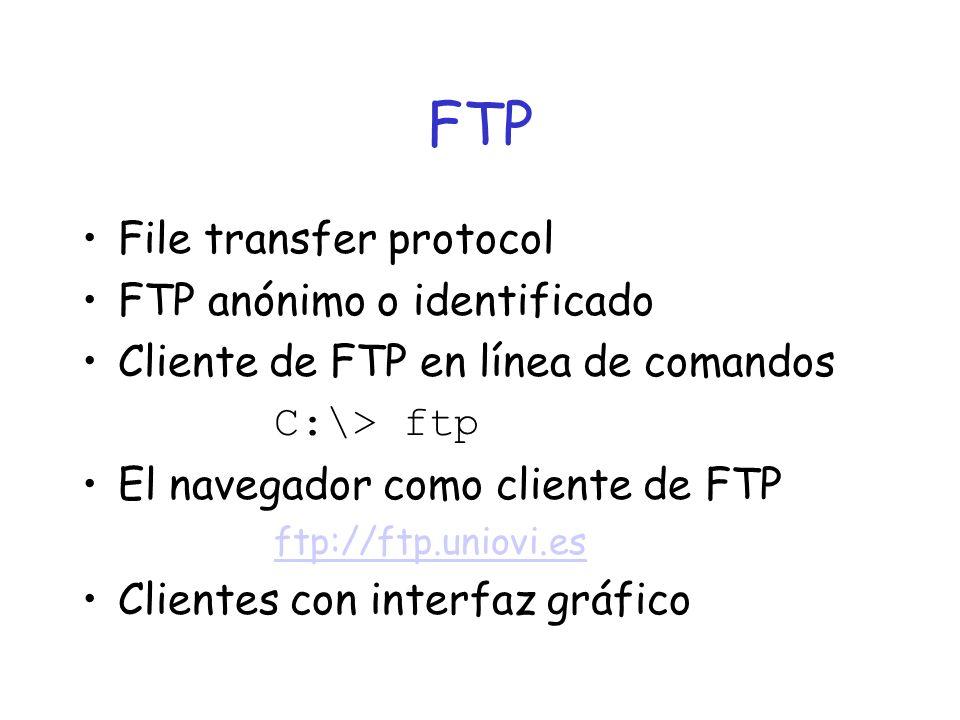 FTP File transfer protocol FTP anónimo o identificado