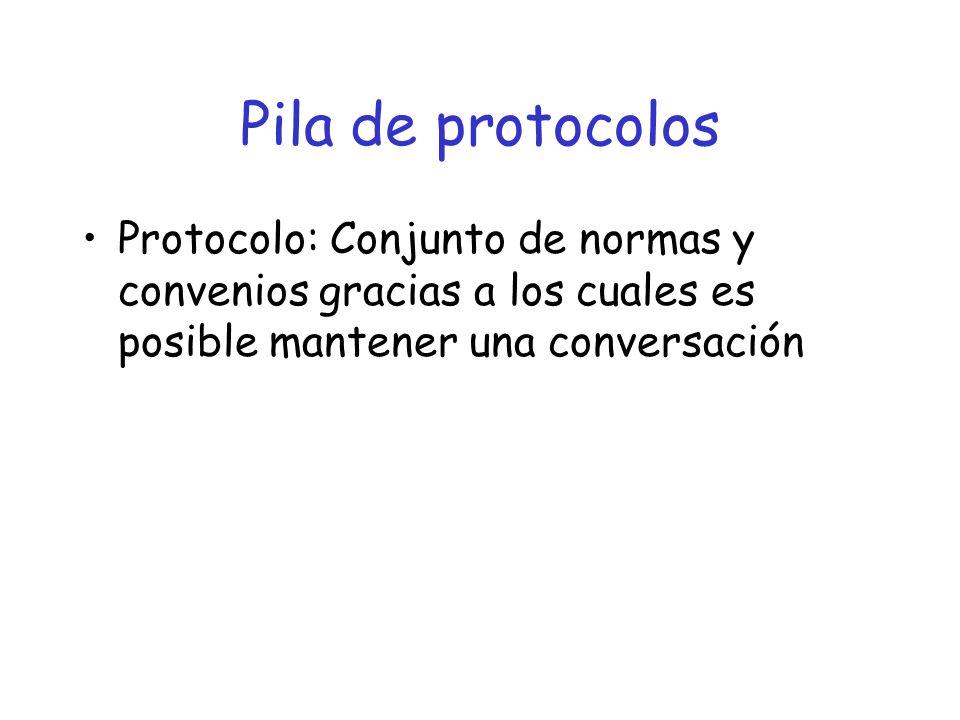 Pila de protocolos Protocolo: Conjunto de normas y convenios gracias a los cuales es posible mantener una conversación.