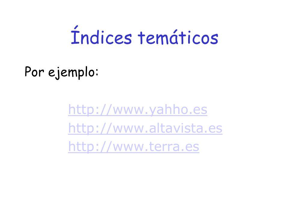 Índices temáticos Por ejemplo: http://www.yahho.es