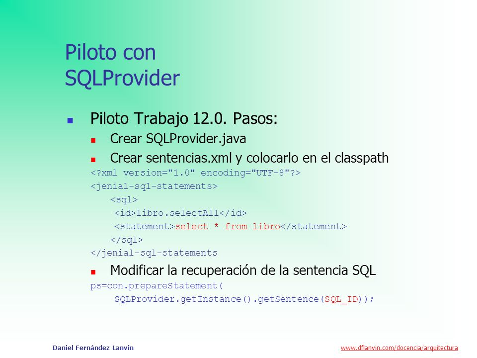 Piloto con SQLProvider