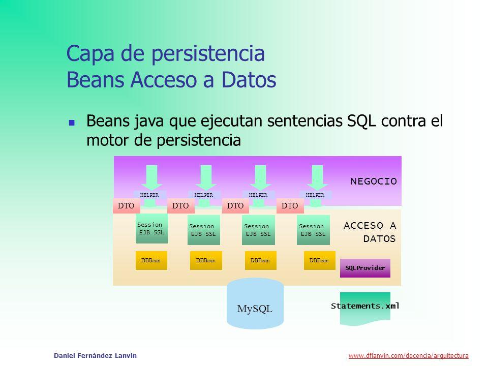 Capa de persistencia Beans Acceso a Datos