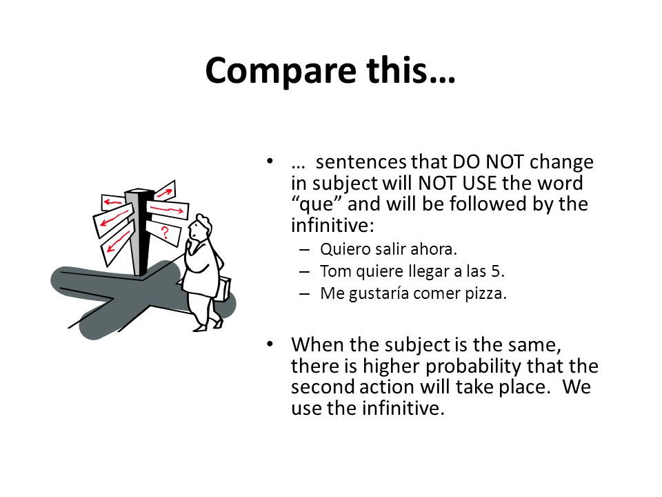 Compare this… … sentences that DO NOT change in subject will NOT USE the word que and will be followed by the infinitive: