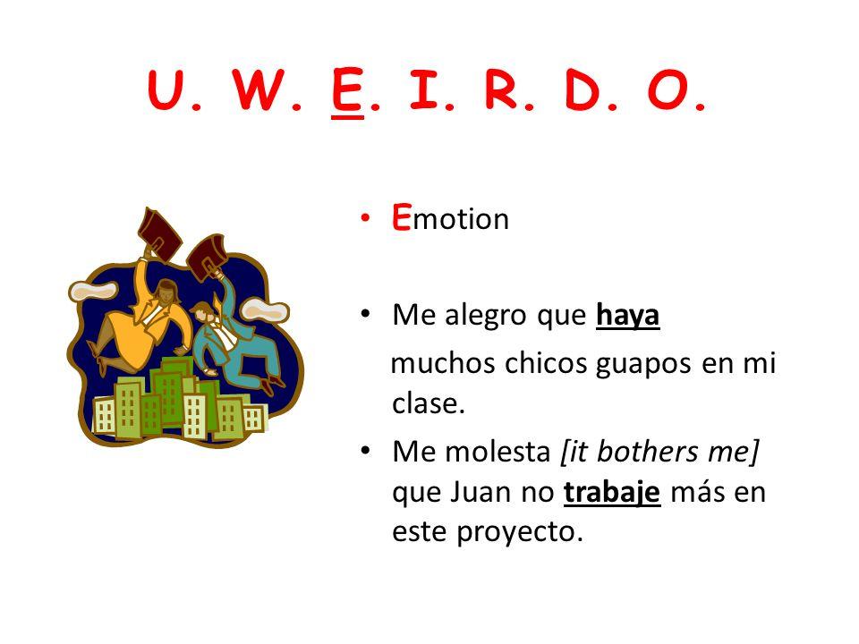 U. W. E. I. R. D. O. Emotion Me alegro que haya