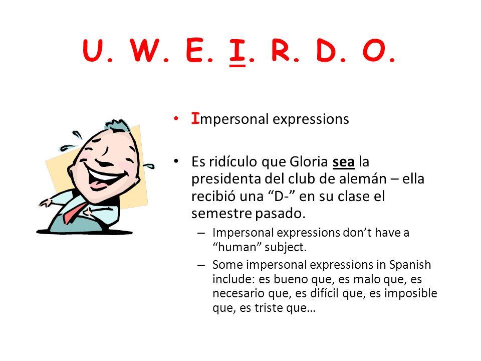 U. W. E. I. R. D. O. Impersonal expressions