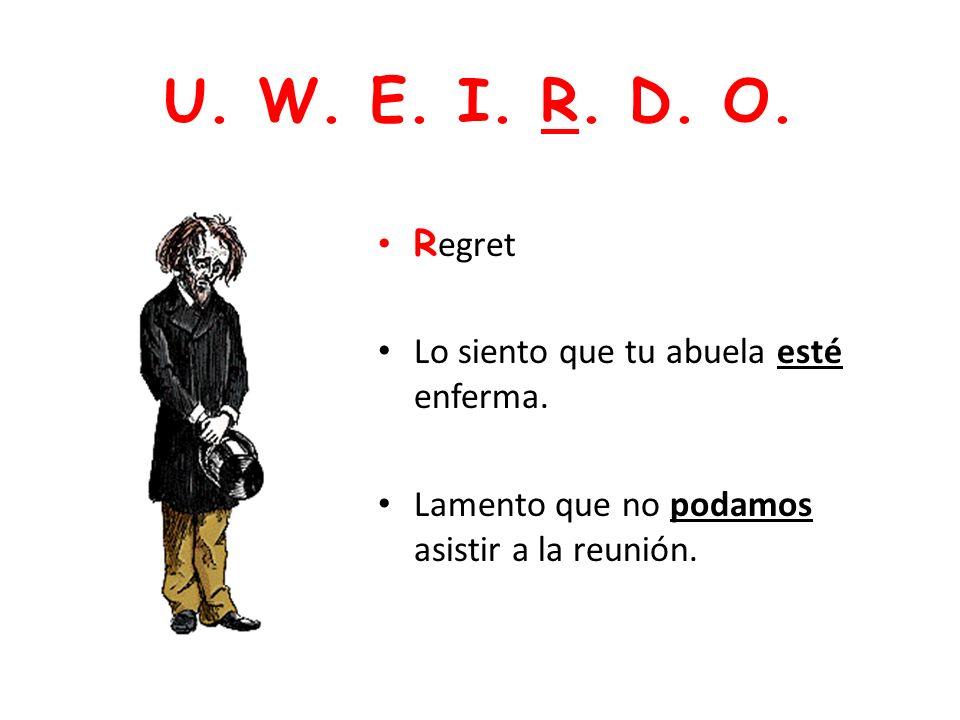 U. W. E. I. R. D. O. Regret Lo siento que tu abuela esté enferma.