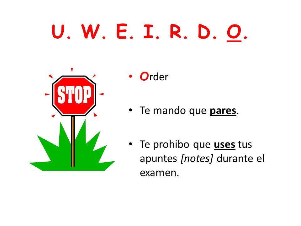 U. W. E. I. R. D. O. Order Te mando que pares.
