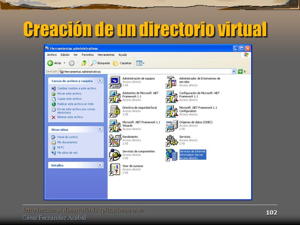 Creación de un directorio virtual