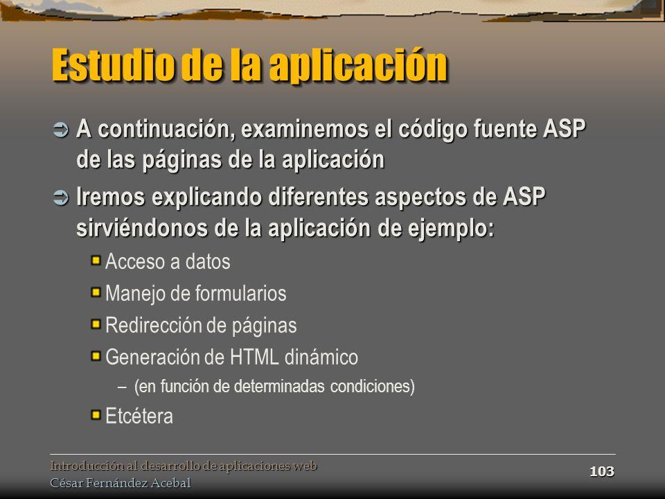 Estudio de la aplicación