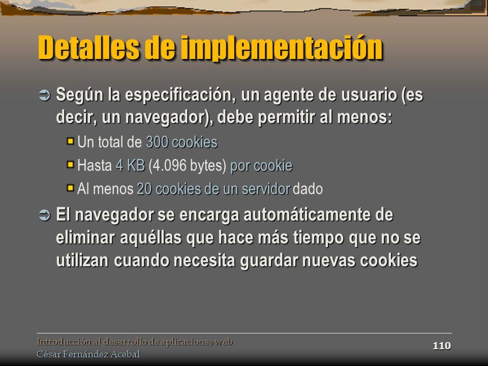 Detalles de implementación