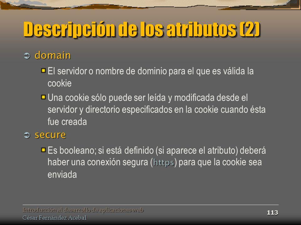 Descripción de los atributos (2)