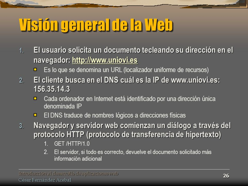 Visión general de la Web