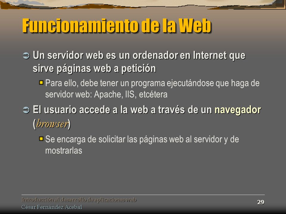 Funcionamiento de la Web