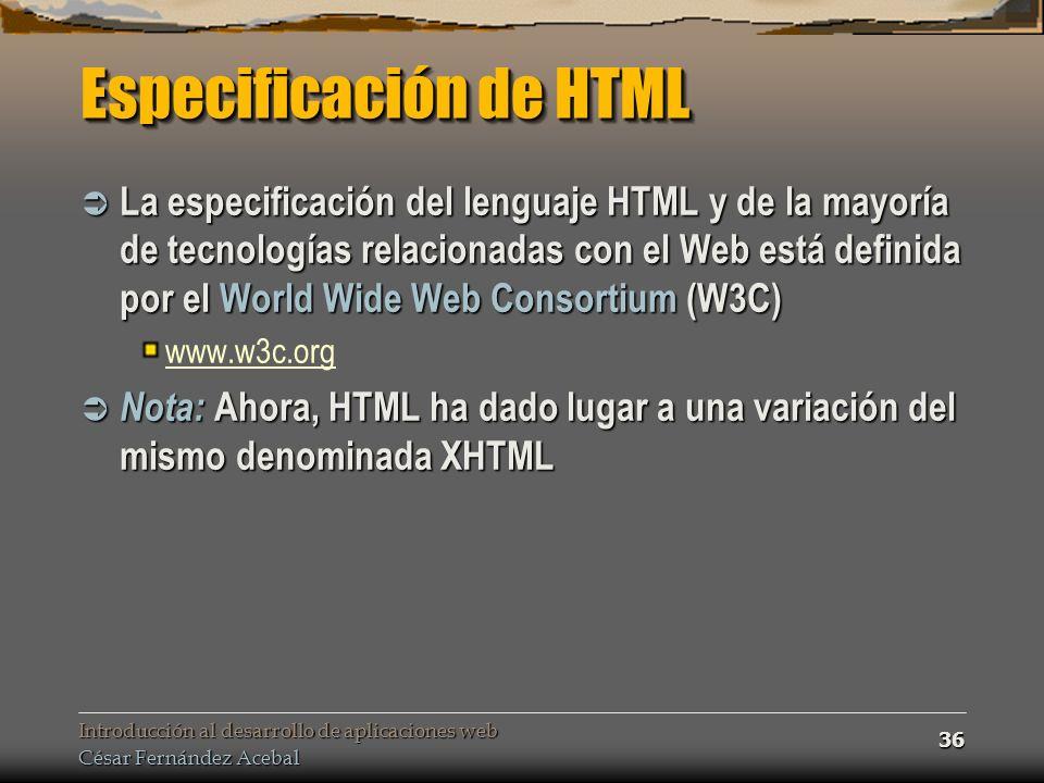Especificación de HTML