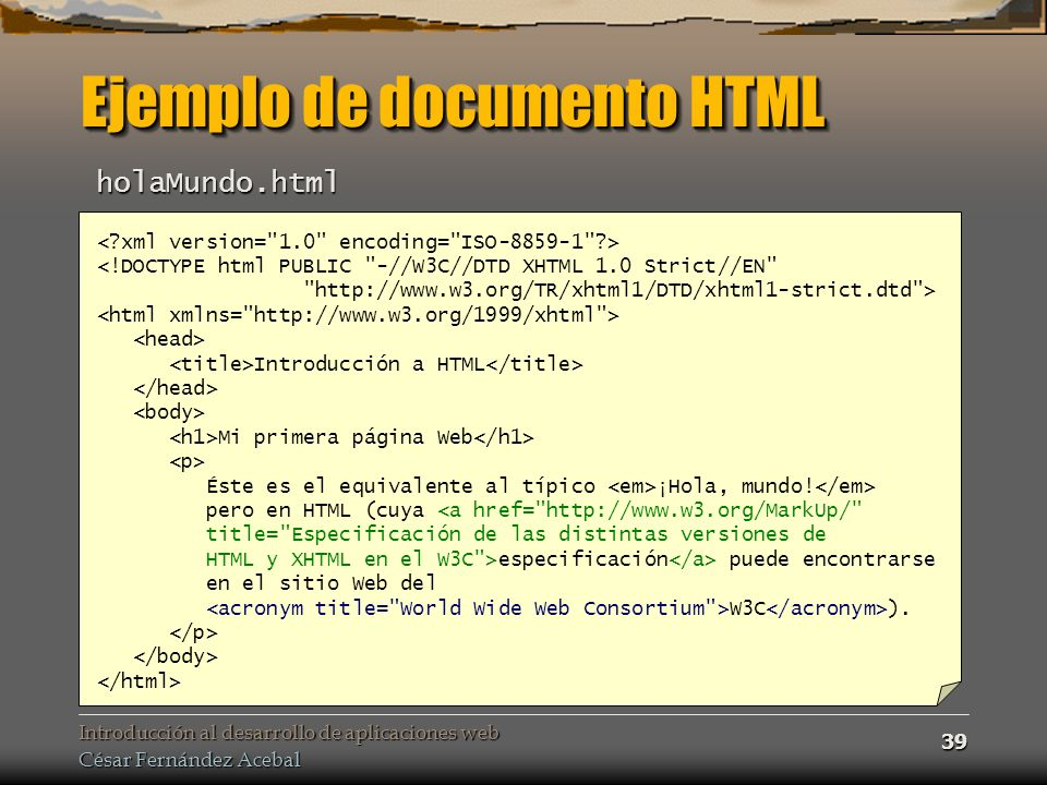 Ejemplo de documento HTML