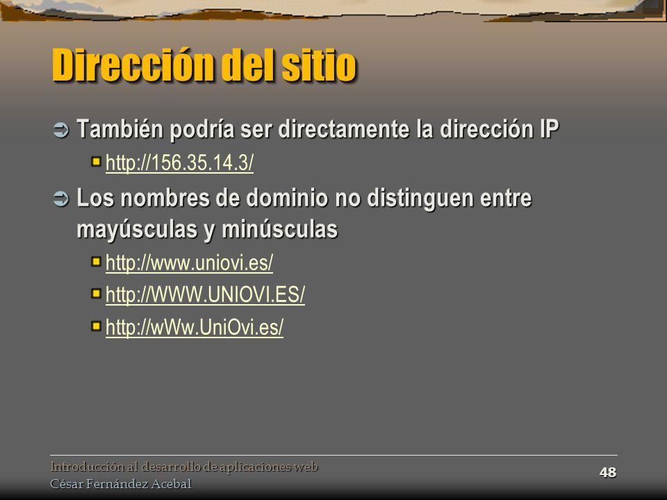 Dirección del sitio También podría ser directamente la dirección IP
