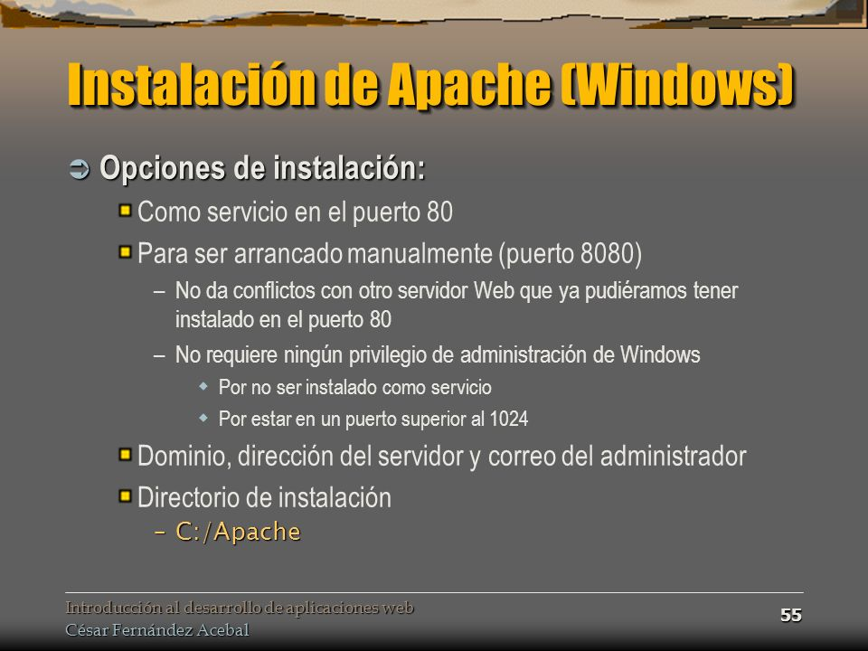 Instalación de Apache (Windows)