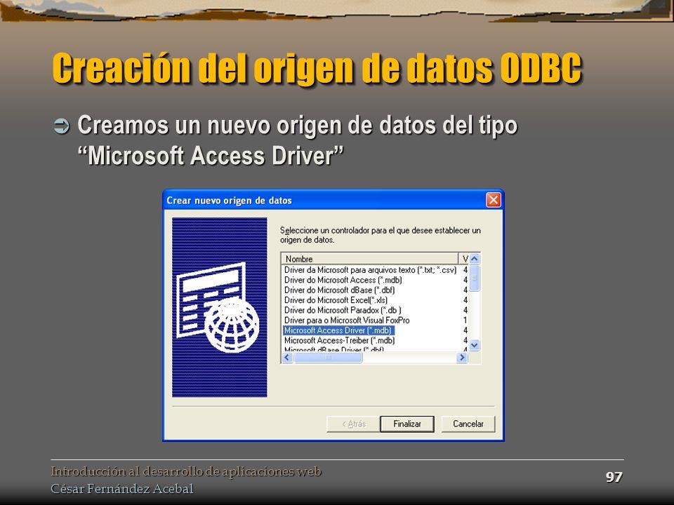 Creación del origen de datos ODBC